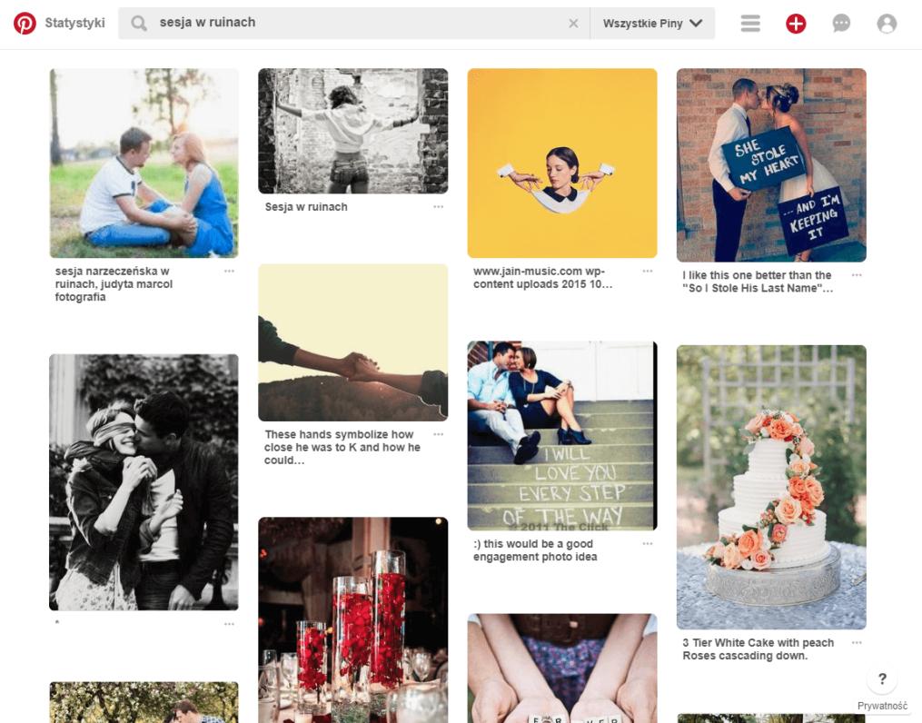 Wyniki wyszukiwania na Pinterest